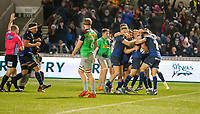 3rd January 2020; AJ Bell Stadium, Salford, Lancashire, England; English Premiership Rugby, Sale Sharks versus Harlequins;  Sale Sharks celebrate their third try againts Harlequins scored by  Luke James - Editorial Use