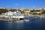 View from Gozo Channel Line ferry ship approaching port of Mgarr, Gozo, Malta