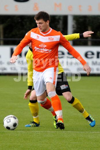EMMEN - Voetbal, WKE - UNA , Sportpark Grote Geert, Topklasse, seizoen 2011-2012, 22-04-2012 WKE speler Jan Hooiveld