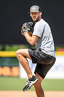 Former Red Sox pitcher Daniel Bard works out on Tuesday, June 2, 2020, at Fluor Field at the West End in Greenville, South Carolina. Team workouts have been shut down during the coronavirus pandemic, so this group began working out in what they call game situation simulations a couple of days a week. Bard played for the Greenville Drive in 2007-2008 and is now attempting a comeback with the Rockies. (Tom Priddy/Four Seam Images)