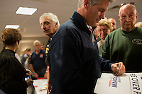 Senator Scott Brown (R-MA) greets supporters after speaking to a crowd gathered the VFW Post 88 for a campaign stop in North Billerica, Massachusetts, USA, on Thurs., Nov. 2, 2012. Senator Scott Brown is seeking re-election to the Senate.  His opponent is Elizabeth Warren, a democrat.