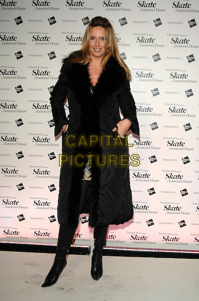 PENNY LANCASTER STEWART.Somerset House Ice Skating Rink VIP Launch - Arrivals..London, England, 20th November 2007..full length black coat  fur collar hands in pockets.CAP/PL.©Phil Loftus/Capital Pictures