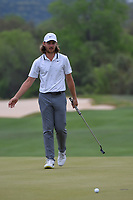 Tommy Fleetwood (ENG) reacts to barely missing his birdie putt on 15 during day 3 of the WGC Dell Match Play, at the Austin Country Club, Austin, Texas, USA. 3/29/2019.<br /> Picture: Golffile | Ken Murray<br /> <br /> <br /> All photo usage must carry mandatory copyright credit (© Golffile | Ken Murray)