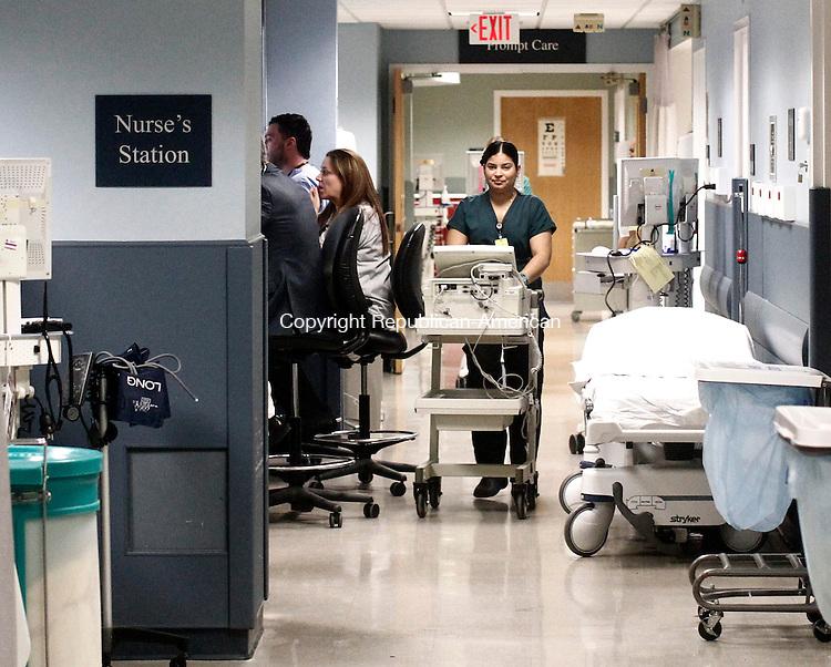 Waterbury, CT- 16 December 2014-121614CM03-   Staff members work inside the Emergency Department at Waterbury Hospital on Tuesday.  Christopher Massa Republican-American