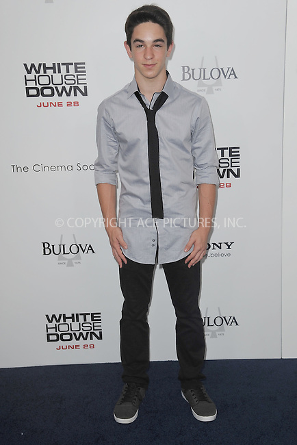 WWW.ACEPIXS.COM<br /> June 25, 2013...New York City <br /> <br /> Zack Gordon attending 'White House Down' New York Premiere at Ziegfeld Theater on June 25, 2013 in New York City.<br /> <br /> Please byline: Kristin Callahan... ACE<br /> Ace Pictures, Inc: ..tel: (212) 243 8787 or (646) 769 0430..e-mail: info@acepixs.com..web: http://www.acepixs.com