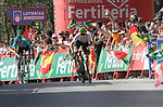 Benjamin King (USA) Team Dimension Data pulls away from Nikita Stalnov (KAZ) Astana Pro Team from the breakaway group to win Stage 4 of the La Vuelta 2018, running 162km from Velez-Malaga to Alfacar, Sierra de la Alfaguara, Andalucia, Spain. 28th August 2018.<br /> Picture: Colin Flockton | Cyclefile<br /> <br /> <br /> All photos usage must carry mandatory copyright credit (&copy; Cyclefile | Colin Flockton)
