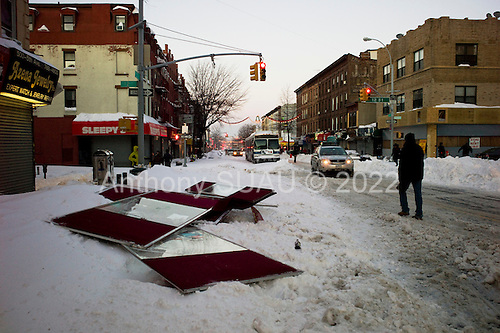 Brooklyn, New York<br /> December 27, 2010<br /> <br /> Snow blizzard on the East Coast. Storm damage on 5th Avenue.