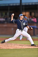 Asheville Tourists pitcher Josh Michalec (17) warms up during game one of a double header against the Greenville Drive on April 18, 2015 in Asheville, North Carolina. The Tourists defeated the Drive 2-1. (Tony Farlow/Four Seam Images)