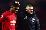 Ole Gunnar Solskjaer, manager of Manchester United dejected with Marcus Rashford during the Premier League match at Old Trafford, Manchester. Picture date: 1st December 2019. Picture credit should read: Phil Oldham/Sportimage