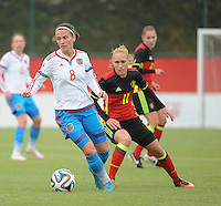 20161023 - TUBIZE , BELGIUM : Belgian Janice Cayman (R) and Russian Daria Makarenko (L) pictured during a friendly game between the women teams of the Belgian Red Flames and Russia at complex Euro 2000 in Tubize , Sunday 23 October 2016 ,  PHOTO Dirk Vuylsteke | Sportpix.Be