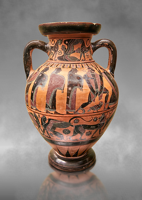 560-550 B.C Etruscan attica style amfora painted in the style of Lydos, inv 70995,   National Archaeological Museum Florence, Italy , grey art background