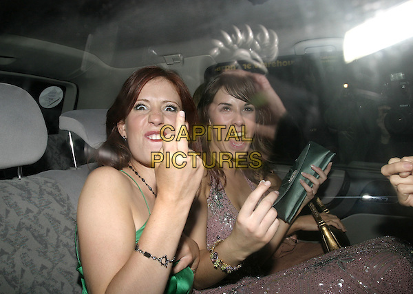 AMY NUTTALL.Leaving Funky Buddha.October 26th, 2004.headshot, portrait, car, cab, taxi, gesture, rude finger.www.capitalpictures.com.sales@capitalpictures.com.© Capital Pictures.