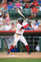 Florida Fire Frogs center fielder Anfernee Seymour (2) at bat during a game against the St. Lucie Mets on July 23, 2017 at Osceola County Stadium in Kissimmee, Florida.  St. Lucie defeated Florida 3-2.  (Mike Janes/Four Seam Images)