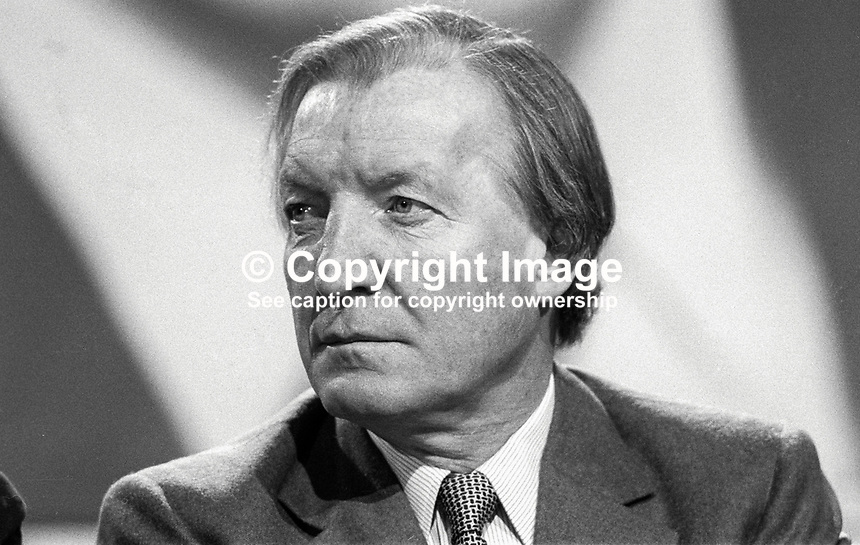 Charles Haughey, TD, Prime Minister, Taoiseach, Rep of Ireland, on platform  during Fianna Fail Ard Fheis, February 1981. 198102000032CH7.<br />