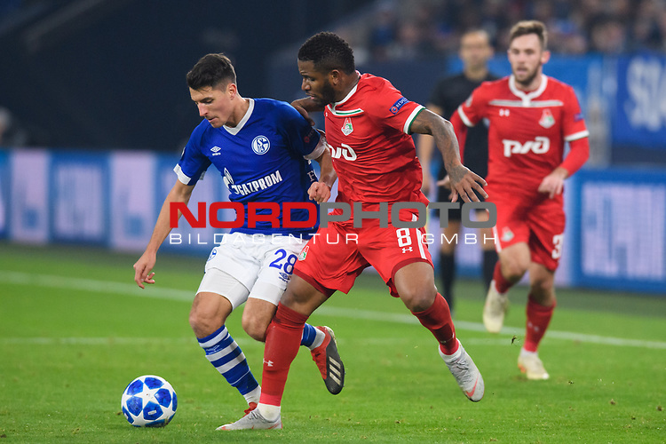 11.12.2018, VELTINS Arena, Gelsenkirchen, Deutschland, GER, UEFA Champions League, Gruppenphase, Gruppe D, FC Schalke 04 vs. FC Lokomotiv Moskva / Moskau<br /> <br /> DFL REGULATIONS PROHIBIT ANY USE OF PHOTOGRAPHS AS IMAGE SEQUENCES AND/OR QUASI-VIDEO.<br /> <br /> im Bild Zweikampf zwischen Alessandro Sch&ouml;pf / Schoepf (#28 Schalke) und Jefferson Farfan (#8 Moskau)<br /> <br /> Foto &copy; nordphoto / Kurth