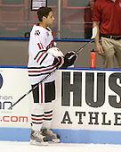 Justin Daniels (NU - 11) - The Northeastern University Huskies defeated the Bentley University Falcons 3-2 on Friday, October 16, 2009, at Matthews Arena in Boston, Massachusetts.