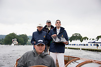 Henley-on-Thames. United Kingdom.  2017 Henley Royal Regatta, Henley Reach, River Thames. <br /> Timekeepers. Left to Right, Dr. Peter THOMAS, Peter KNOWLES and Gavin STEWART.<br /> <br /> 10:22:46  Wednesday  28/06/2017<br /> <br /> [Mandatory Credit. Intersport Images}.