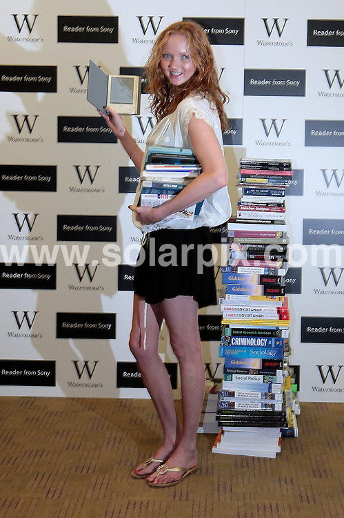 **ALL ROUND PICTURES FROM SOLARPIX.COM**.**NO UK NEWSPAPER PUBLICATION **UK MAGAZINE & SUPPLEMENT PUBLICATION ONLY** AND NO PUBLICATION IN FRANCE, SCANDINAVIA, AUSTRALIA AND GERMANY** .Model Lily Cole  launched the Reader from Sony at Waterstones bookshop in London this morning.  .The new eBook reader, with 'E Ink' electronic display, is smaller than a hardback book & can store up to 160 eBooks as well as thousands more on memory sticks or SD memory cards..JOB REF:  7185    SFE       DATE:  03.09.08.**MUST CREDIT SOLARPIX.COM OR DOUBLE FEE WILL BE CHARGED* *UNDER NO CIRCUMSTANCES IS THIS IMAGE TO BE REPRODUCED FOR ANY ONLINE EDITION WITHOUT PRIOR PERMISSION*