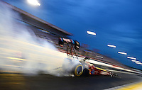Aug. 31, 2012; Claremont, IN, USA: NHRA top fuel dragster driver Scott Palmer during qualifying for the US Nationals at Lucas Oil Raceway. Mandatory Credit: Mark Rebilas-