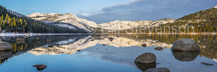A panorama photo of Donner Lake near Truckee, California