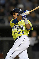 Left fielder Wagner Lagrange (23) of the Columbia Fireflies bats in a game against the Charleston RiverDogs on Thursday, April 4, 2019, at Segra Park in Columbia, South Carolina. Charleston won, 2-1. (Tom Priddy/Four Seam Images)