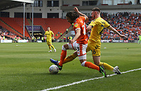 Blackpool's Nya Kirby is fouled by Fleetwood Town's James Husband in the penalty area<br /> <br /> Photographer Stephen White/CameraSport<br /> <br /> The EFL Sky Bet League One - Blackpool v Fleetwood Town - Monday 22nd April 2019 - Bloomfield Road - Blackpool<br /> <br /> World Copyright © 2019 CameraSport. All rights reserved. 43 Linden Ave. Countesthorpe. Leicester. England. LE8 5PG - Tel: +44 (0) 116 277 4147 - admin@camerasport.com - www.camerasport.com