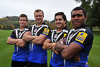 New signings Brett Sharman, Nick Koster, Horacio Agulla and Semesa Rokoduguni pose for a group portrait. Bath Rugby Photocall on October 25, 2012 at Farleigh House in Bath, England. Photo by: Patrick Khachfe/Onside Images