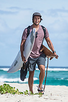 NAMOTU, Fiji (Friday, June 15, 2017) Connor O'Leary (AUS) with his trophy and about to head off the island .- Contest is all done and the crew are leaving. Surf is a windy 4'-6' <br /> Photo: joliphotos.com