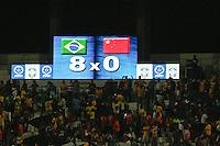 ATENÇÃO EDITOR: FOTO EMBARGADA PARA VEÍCULOS INTERNACIONAIS - RECIFE,PE,10 SETEMBRO 2012 - AMISTOSO SELEÇÃO BRASILEIRA - BRASIL X CHINA -Placar no final  partida Brasil x China no Estádio José do Rego Maciel  (Arruda) em Recife na noite desta segunda feira (10).(FOTO ALE VIANNA - BRAZIL PHOTO PRESS).