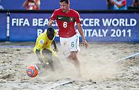RAVENNA, ITALIA, 08 DE SETEMBRO DE 2011 - COPA DO MUNDO DE BEACH SOCCER - <br /> <br /> PORTUGAL X SENEGAL- Alan do Portugal durante de partida contra a Ngalla Senegal, válida <br /> <br /> pelas quartas de final da Copa do Mundo de Beach Soccer, no Estádio Del Mare, em <br /> <br /> Ravenna, Itália, nesta quinta-feira (8). FOTO: VANESSA CARVALHO - NEWS FREE