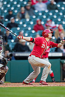 Nebraska Cornhuskers outfielder Ryan Boldt (21) follows through on his swing during Houston College Classic against the Texas A&M Aggies on March 6, 2015 at Minute Maid Park in Houston, Texas. Texas A&M defeated Nebraska 2-1. (Andrew Woolley/Four Seam Images)