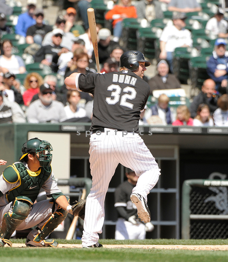 ADAM DUNN, of the Chicago White Sox, in action during the Sox game against the Oakland A's on April 13, 2011 at US Cellular Field in Chicago, Illinois.  The Oakland A's beat the Chicago White Sox 7-4.
