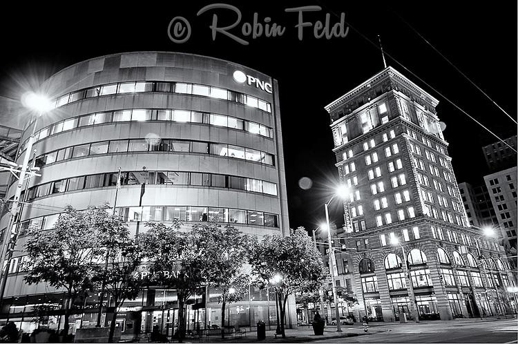 PNC Bank photo at night in black & white: 3rd & Main St., Dayton Ohio
