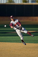 Virginia Tech Hokies shortstop Ricky Surum (2) makes a throw to first base against the Wake Forest Demon Deacons in game two of a doubleheader at Wake Forest Baseball Park on March 7, 2015 in Winston-Salem, North Carolina.  (Brian Westerholt/Four Seam Images)
