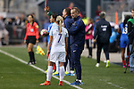 CHESTER, PA - MARCH 01: England head coach Mark Sampson (right) talks to Jordan Nobbs (ENG) (7). The England Women's National Team played the France Women's National Team as part of the She Believes Cup on March, 1, 2017, at Talen Engery Stadium in Chester, PA. The France won the game 2-1.