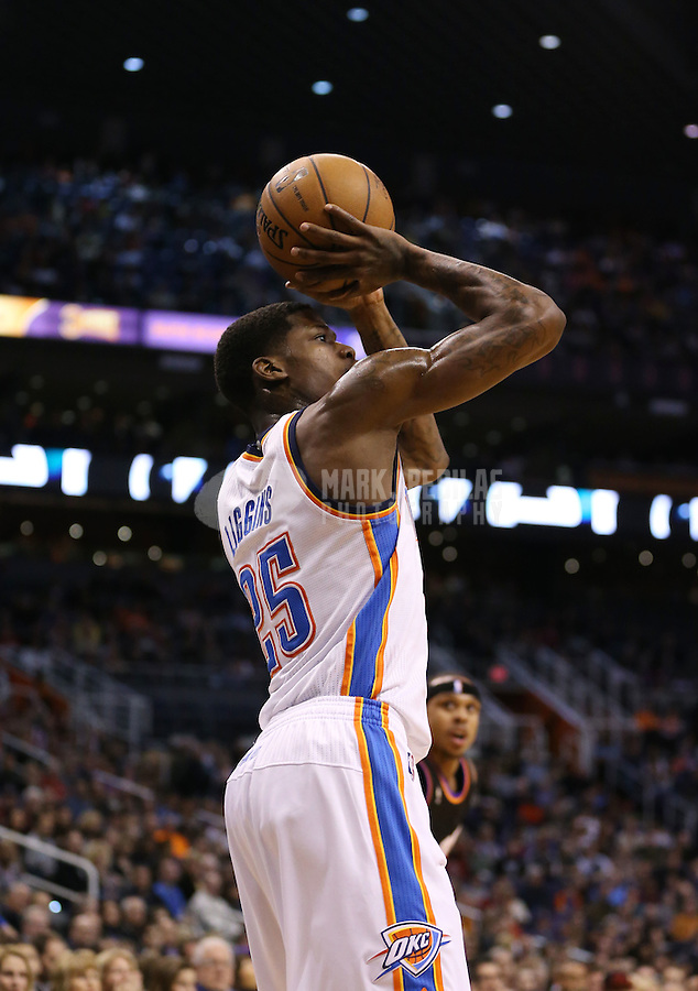 Feb. 10, 2013; Phoenix, AZ, USA: Oklahoma City Thunder shooting guard DeAndre Liggins against the Phoenix Suns at the US Airways Center. Mandatory Credit: Mark J. Rebilas-