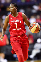 Washington, DC - August 12, 2018: Washington Mystics guard Ariel Atkins (7) brings the ball up court during game between the Washington Mystics and the Dallas Wings at the Capital One Arena in Washington, DC. (Photo by Phil Peters/Media Images International)