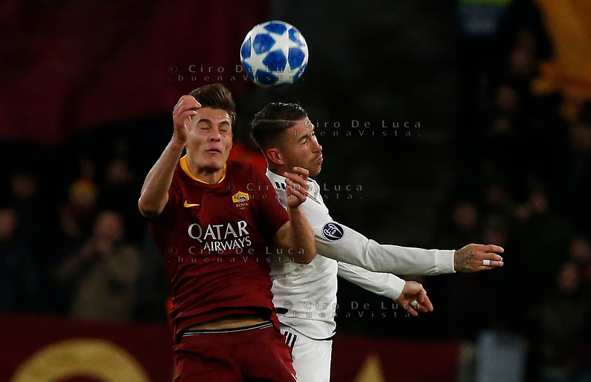 Patrik Schick of AS Roma and Sergio Ramos of Real Madrid  during the Champions League Group  soccer match between AS Roma - Real Madrid  at the Stadio Olimpico in Rome Italy 27 November 2018
