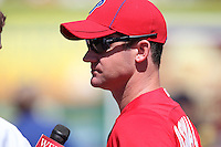 Philadelphia Phillies Roy Oswalt #44 does an interview before a spring training game against the Baltimore Orioles at Bright House Field in Clearwater, Florida;  March 8, 2011.  Photo By Mike Janes/Four Seam Images