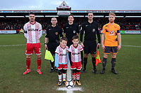 Pre-match line up during Stevenage vs Reading, Emirates FA Cup Football at the Lamex Stadium on 6th January 2018