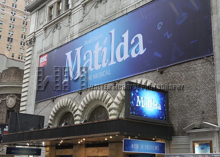 Theatre Marquee for the Broadway Opening Night Performance of 'Matilda The Musical' at the Shubert Theatre in New York City on 4/11/2013
