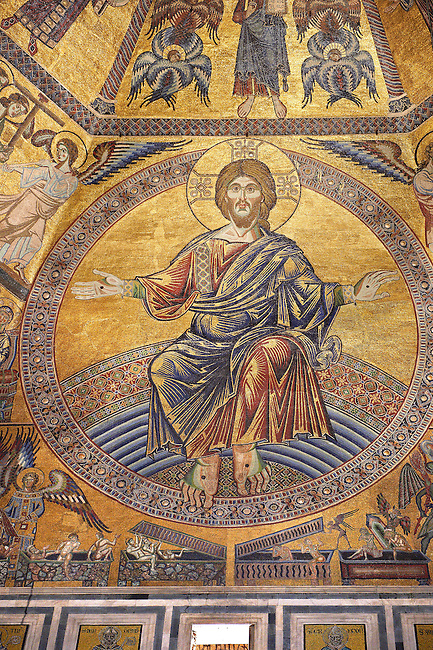 The Medieval mosaics of the ceiling of The Baptistry of Florence Duomo ( Battistero di San Giovanni ) showing Jesus Christ with arms stretched revealing the stigmata,  started in 1225 by Venetian craftsmen in a Byzantine style and completed in the 14th century. Florence Italy