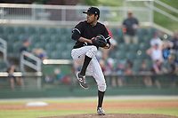 Kannapolis Intimidators relief pitcher Kevin Escorcia (5) in action against the Hickory Crawdads in game one of a double-header at Kannapolis Intimidators Stadium on May 19, 2017 in Kannapolis, North Carolina.  The Crawdads defeated the Intimidators 5-4.  (Brian Westerholt/Four Seam Images)