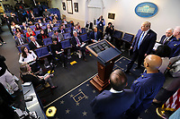 United States President Donald J. Trump arrives to speak during a press conference with members of the coronavirus task force in the Brady Press Briefing Room of the White House on March 16, 2020 in Washington, DC.<br /> Credit: Oliver Contreras / Pool via CNP/AdMedia