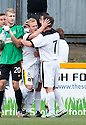 Dumbarton's Scott Agnew (8) is congratulated after he scores their second goal from the spot.