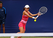 June 13th 2017, The Northern Lawn tennis Club, Manchester, England; ITF Womens tennis tournament; Danielle Lao (USA) hits a backhand during her first round singles match against number one seed Kai-Chen Chang (TPE); Chang won in straight sets