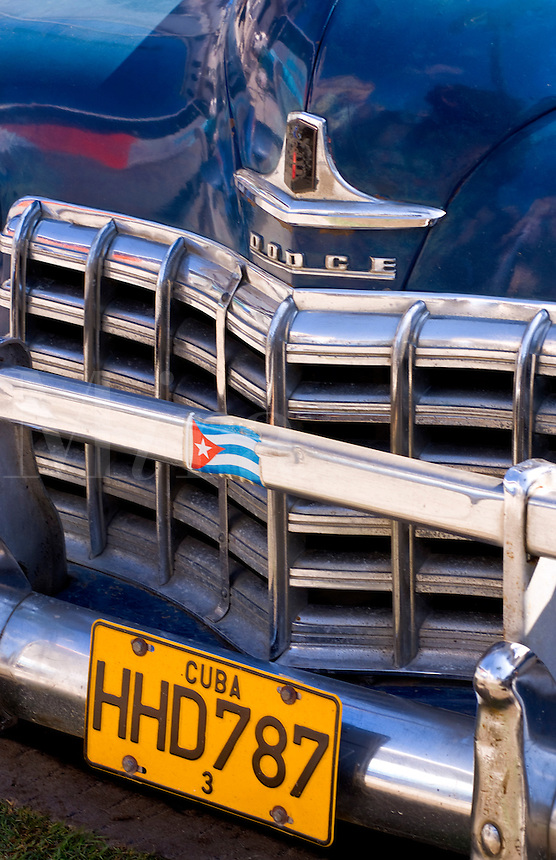 Close up abstract of grill of old Dodge in Havana Cuba Habana
