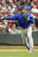 03 April 2006: Chicago Cubs' Aramis Ramirez makes a play against the Cincinnati Reds during the Reds' home opener at Great American Ballpark in Cincinnati, Ohio.<br />