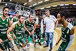 S&ouml;dert&auml;lje 2014-04-22 Basket SM-Semifinal 7 S&ouml;dert&auml;lje Kings - Uppsala Basket :  <br /> S&ouml;dert&auml;lje Kings Dino Butorac , S&ouml;dert&auml;lje Kings Mantas Griskenas , S&ouml;dert&auml;lje Kings Mike Joseph och S&ouml;dert&auml;lje Kings John Roberson jublar efter matchen<br /> (Foto: Kenta J&ouml;nsson) Nyckelord:  S&ouml;dert&auml;lje Kings SBBK Uppsala Basket SM Semifinal Semi T&auml;ljehallen jubel gl&auml;dje lycka glad happy