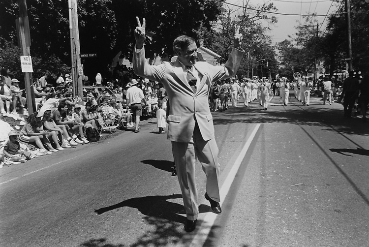 Sen. John Chafee, R-R.I., walks along the parade route during the Bristol Parade, July, 4th, he made sure to walk ahead of the band, there by getting seen by people on both sides of parade route on July 04, 1994. (Photo by Maureen Keating/CQ Roll Call via Getty Images)